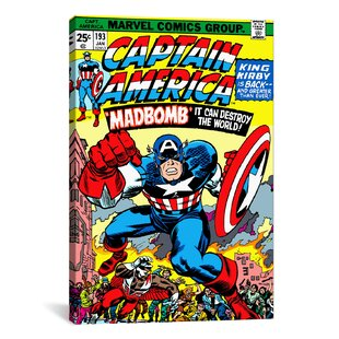 Marvel Comics Captain America Issue Cover Graphic Art On Wrapped Canvas