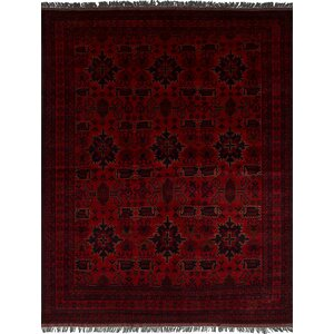 Lelia Hand-Knotted Rectangle Wool Red Area Rug