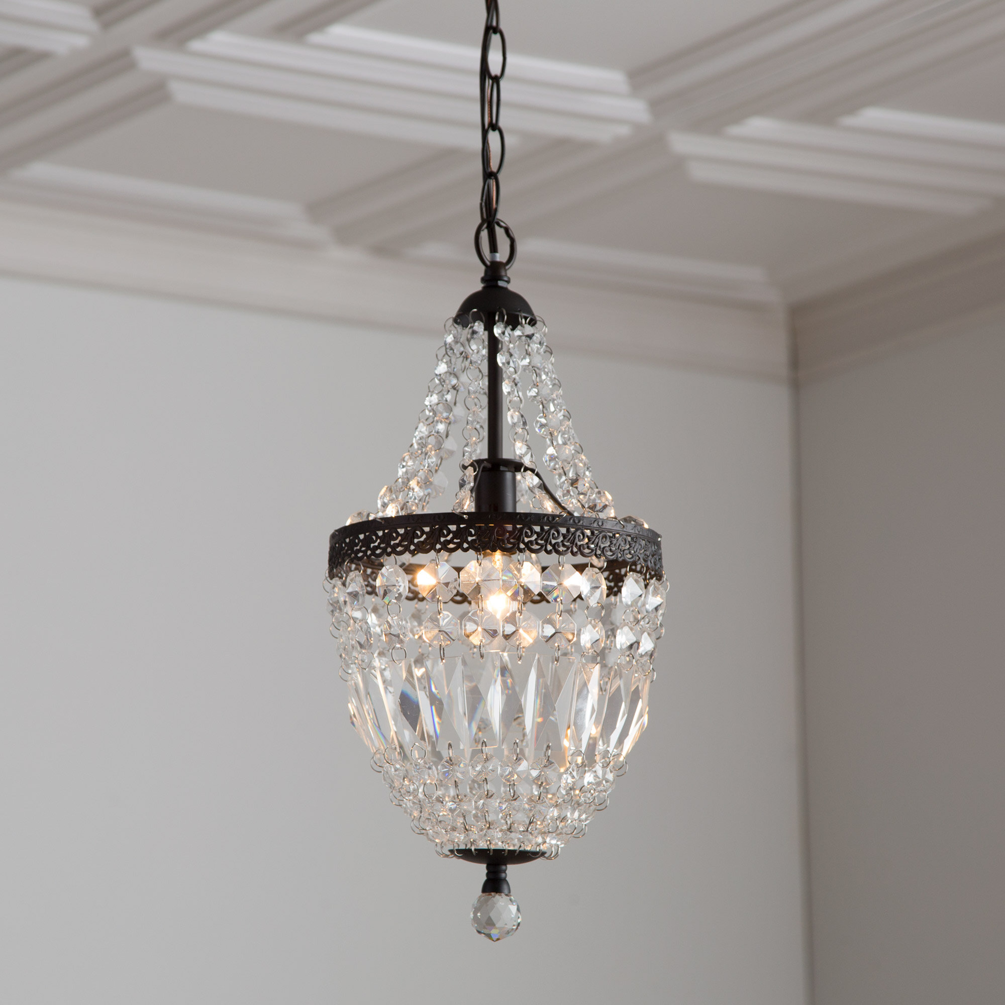 Spokane 1 light crystal pendant reviews birch lane