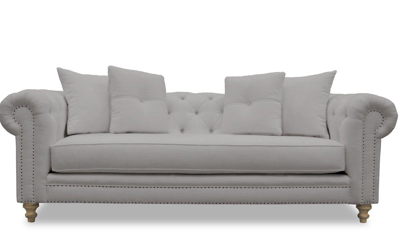 Lovely Hanover Tufted Linen Chesterfield Sofa