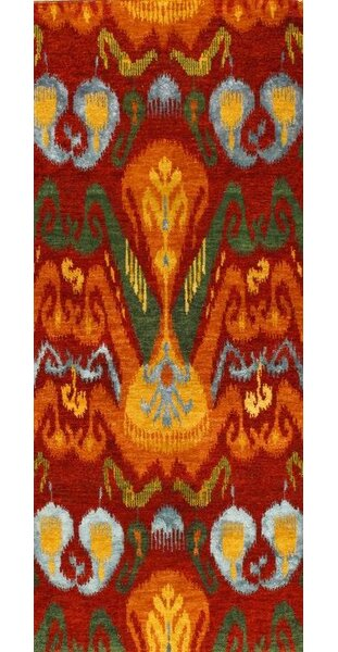 Pasargad Ny Genuine Modern Ikat Design Hand Knotted Wool Silk Red Orange Yellow Area Rug Wayfair