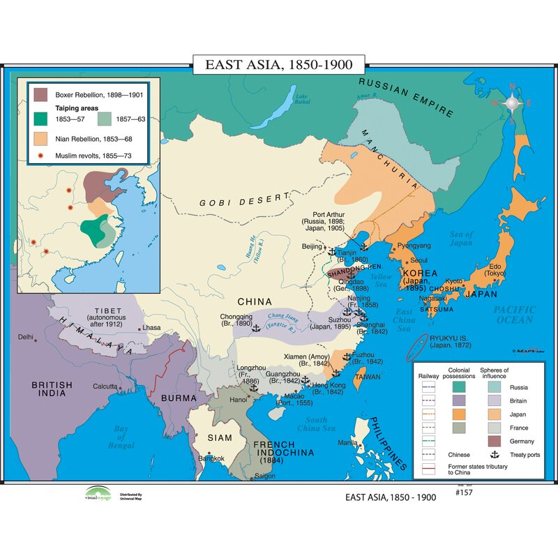 Universal Map World History Wall Maps - East Asia 1850-1900 | Wayfair