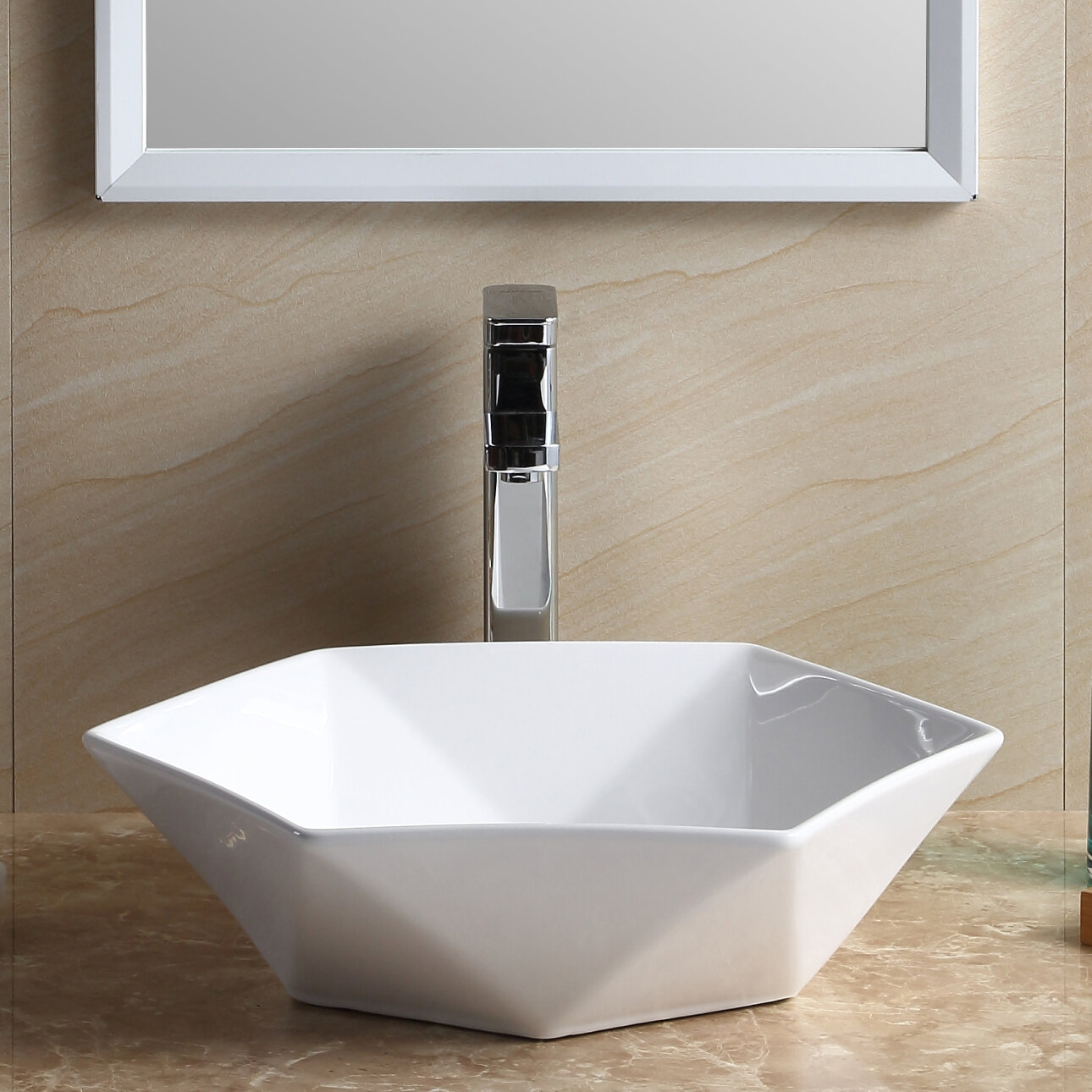 Fine Fixtures Modern Vitreous China Specialty Vessel Bathroom Sink ...