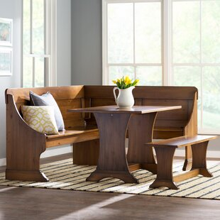 Rockport 3 Piece Solid Wood Breakfast Nook Dining Set