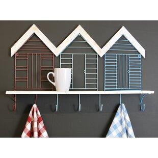 Beach Hut Design Metal And Driftwood Accent Shelf