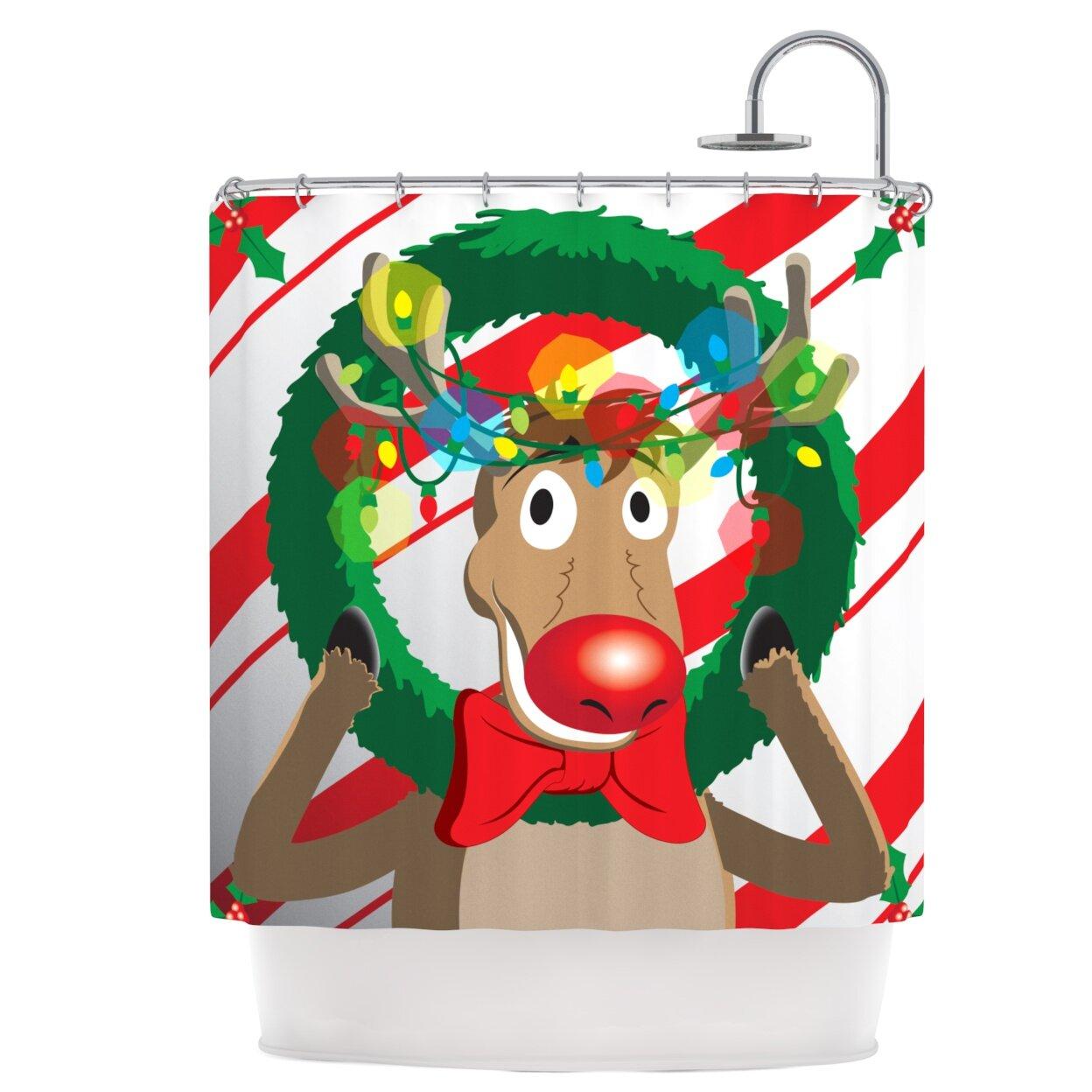 East Urban Home Reindeer Seasonal Shower Curtain & Reviews | Wayfair