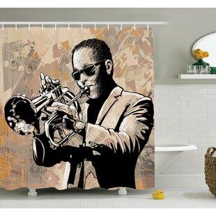 Music Grunge Afro Jazz Art Shower Curtain Set