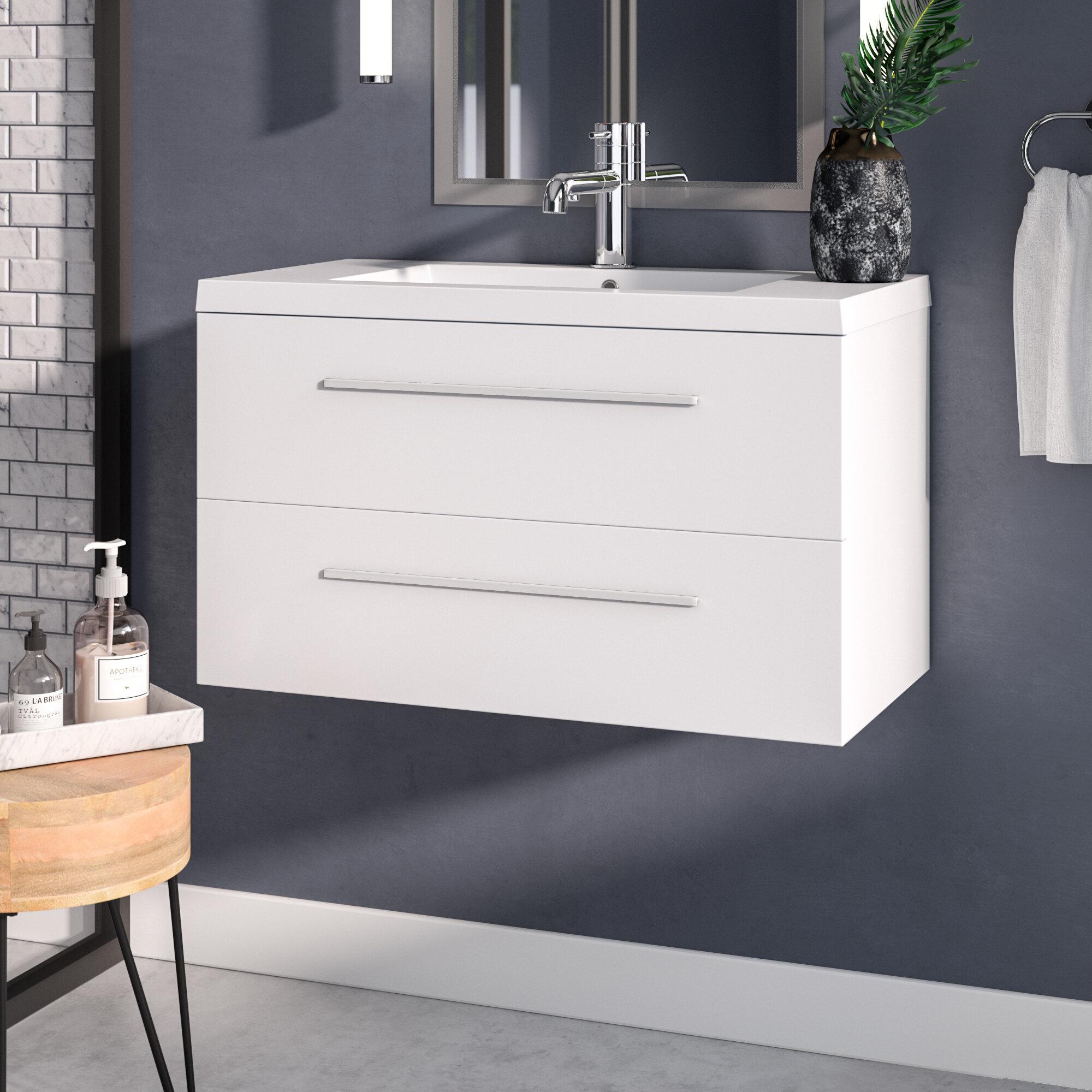 Orren Ellis Han 36 Wall Mounted Single Bathroom Vanity Set Reviews Wayfair