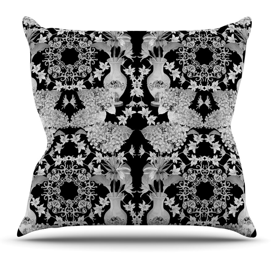 East Urban Home Versailles Black By Dlkg Design Outdoor Throw Pillow