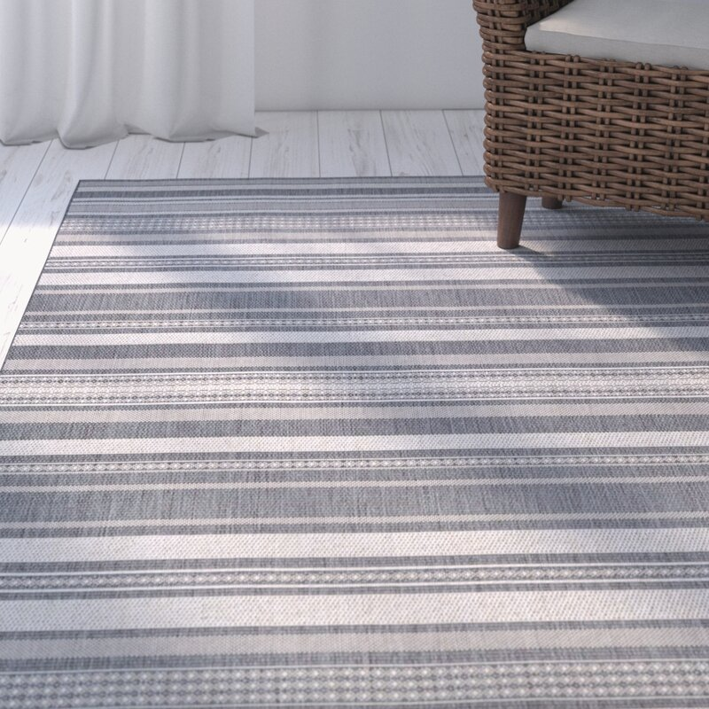 Beachcrest Home Anguila Stripe Gray Indoor/Outdoor Area Rug ...