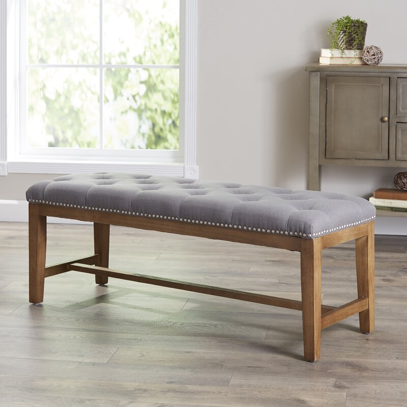 Upholstered Foyer Bench With Back : Ophelia co lansing upholstered bench reviews wayfair