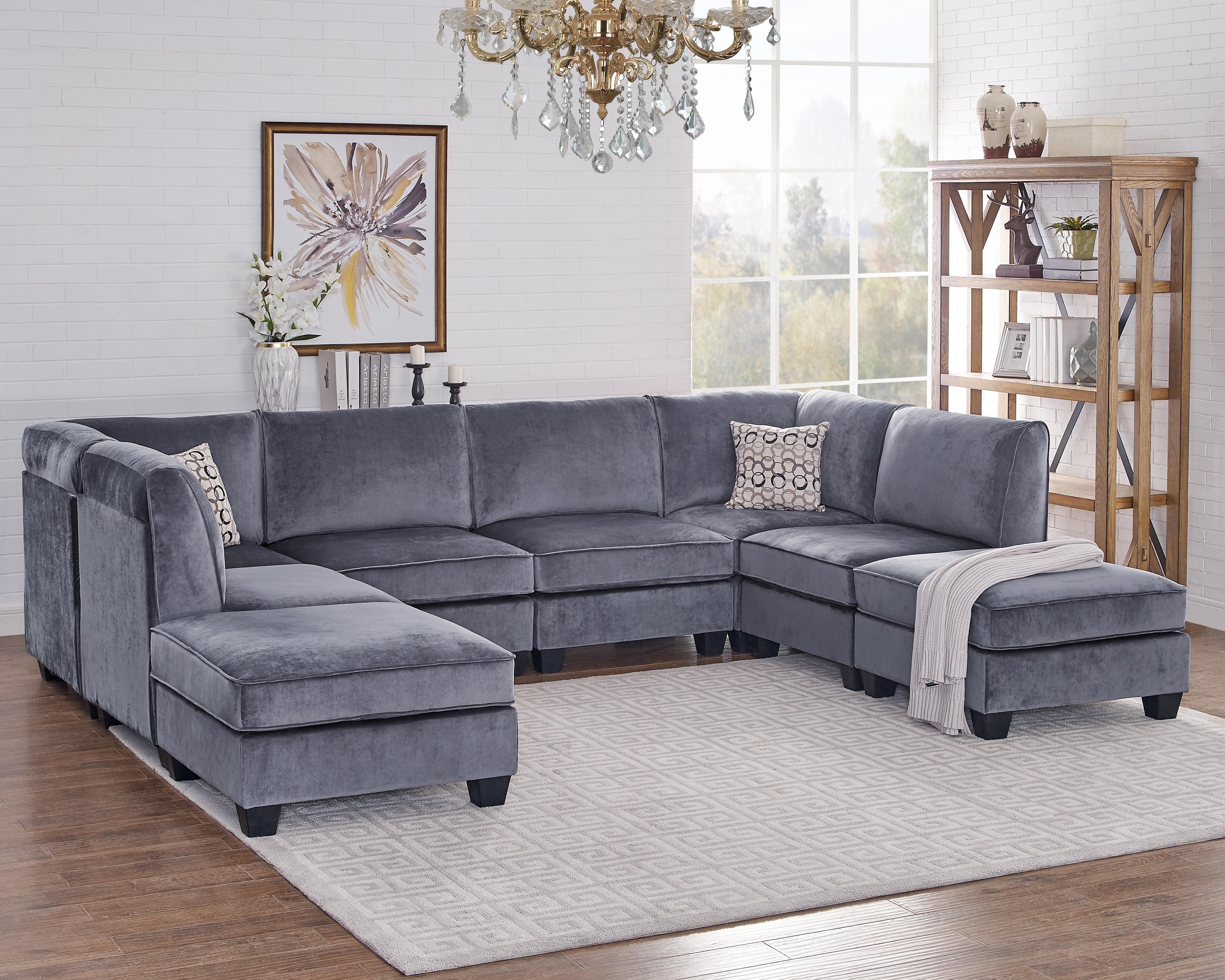 Ivy Bronx Eula Modular Velvet Sofa Set & Reviews | Wayfair