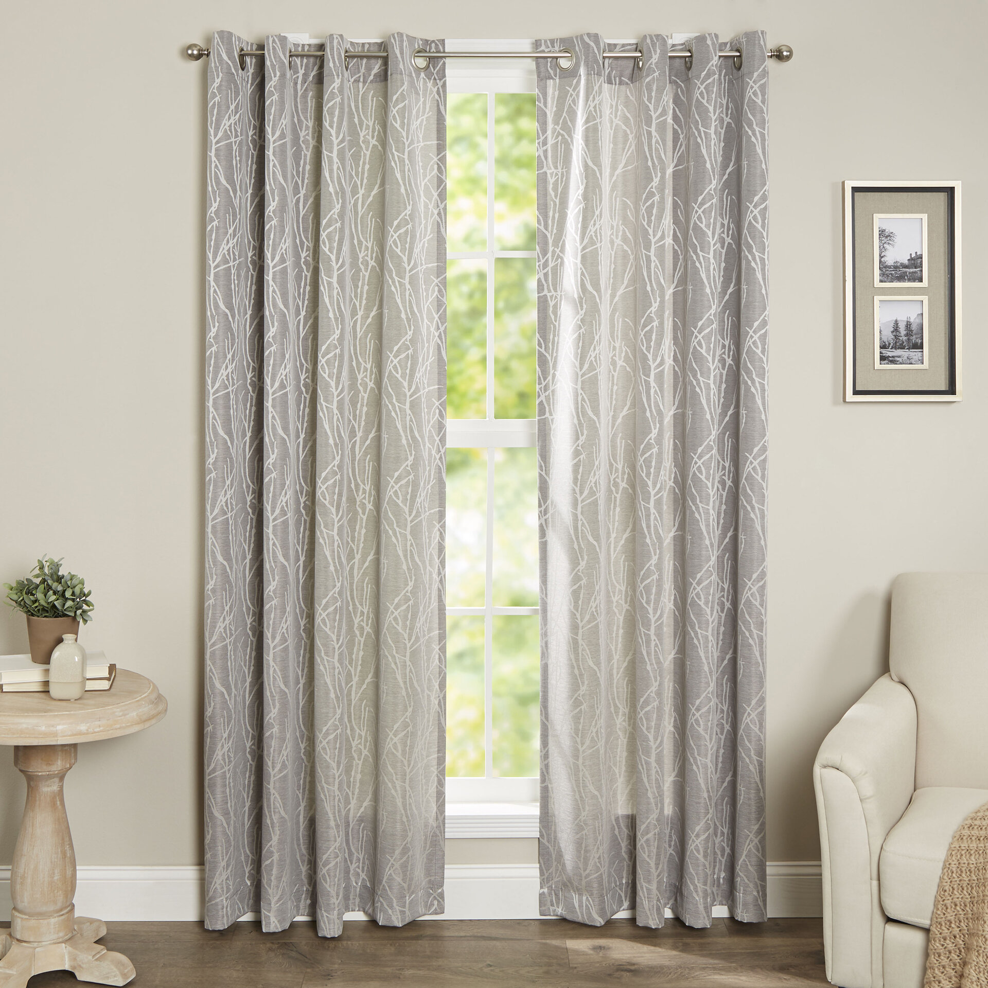 products metallic chrome kitchen print amazon sheer panel delancey com dp stylemaster grommet inch home curtains by