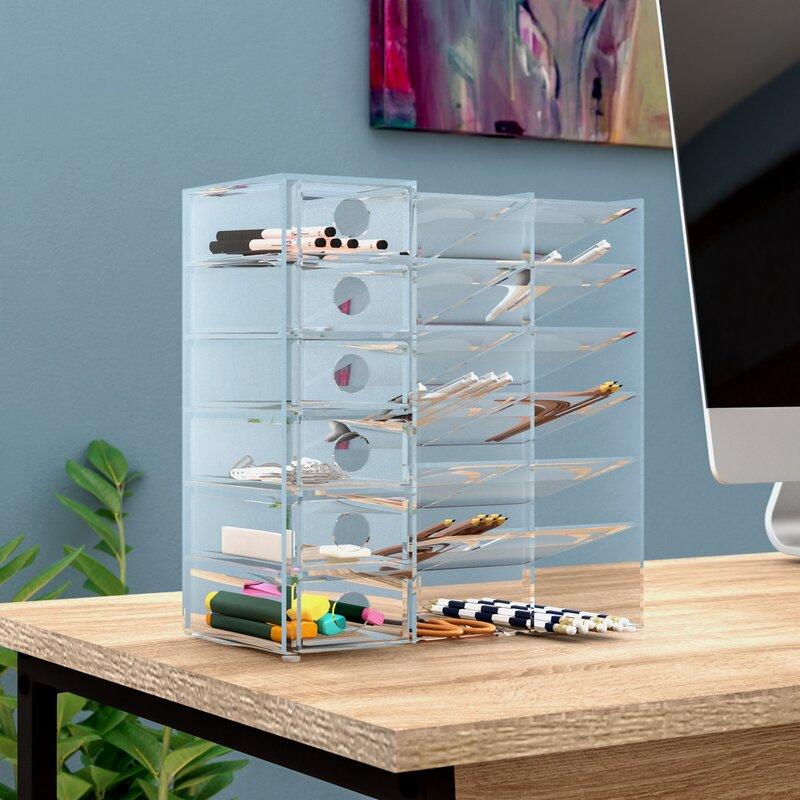 Great Acrylic Six Shelf Office Supply Organizer Storage Drawer Case