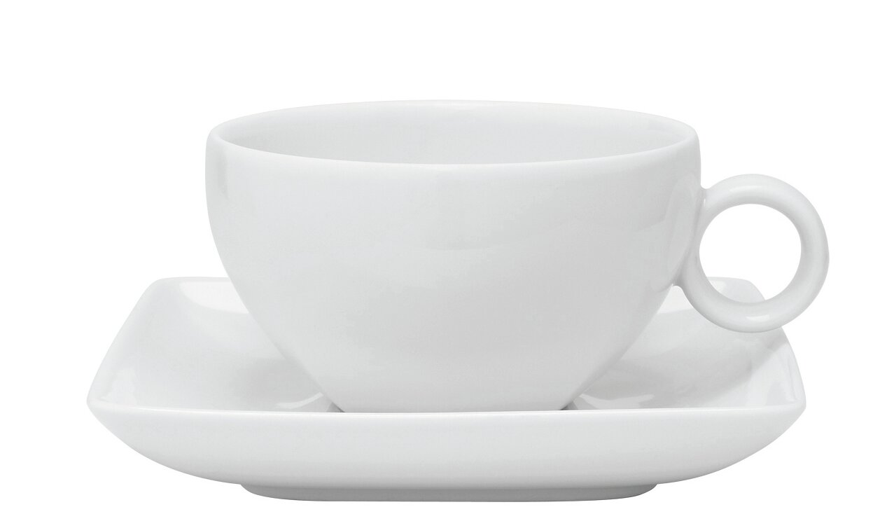 Carré White Tea Cup And Saucer Set Of 4