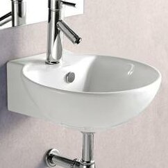 Porcelain 17 Wall Mount Bathroom Sink
