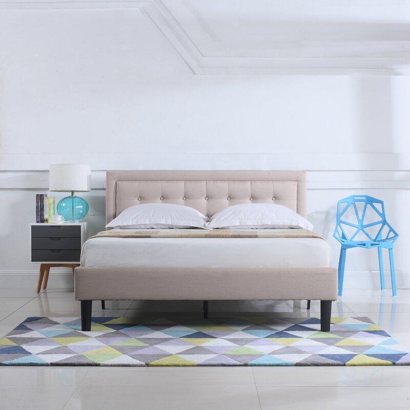 Charlton Home Gibsonburg Low Profile Linen Upholstered Platform Bed ...