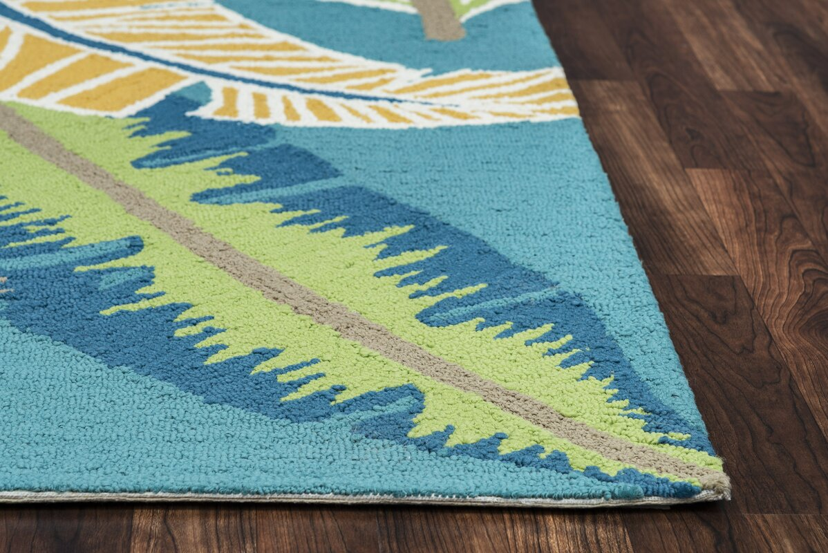 Beachcrest Home Mako Hand Tufted Teal Indoor Outdoor Area