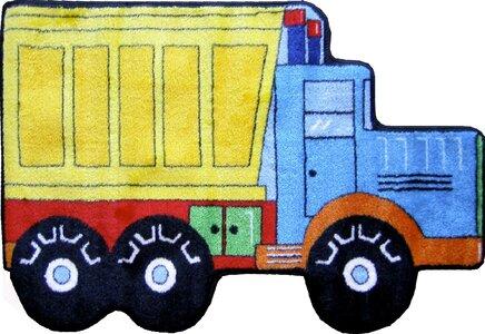 Fun Shape High Pile Dump Truck Area Rug
