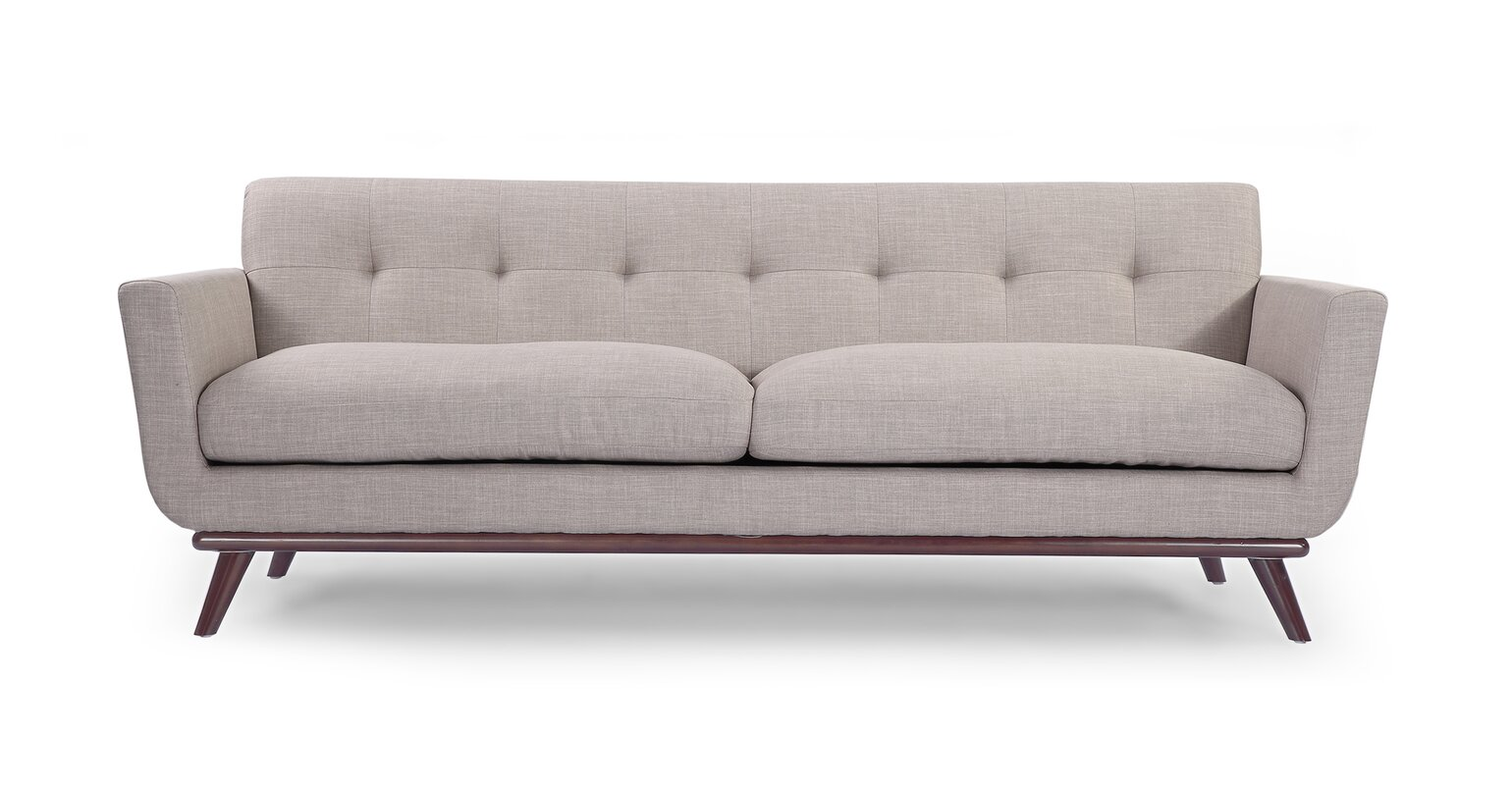 Luther Mid Century Modern Vintage Sofa With Wood Legs