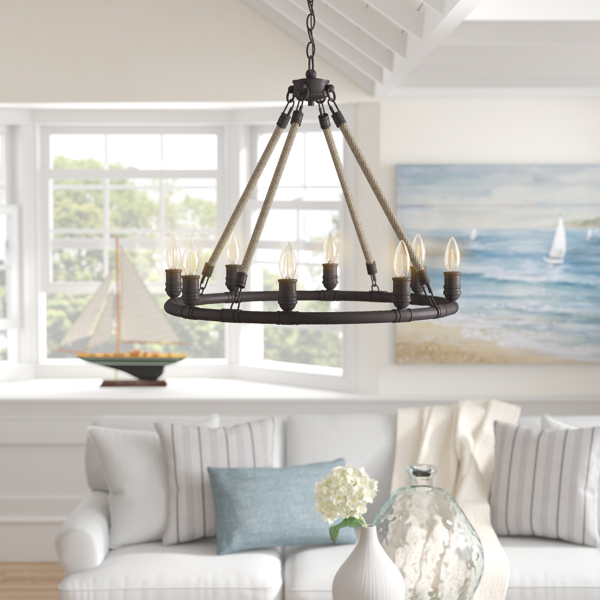 Mexico beach 8 light wagon wheel chandelier