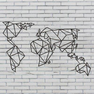World Map Geometric Metal Wall Décor