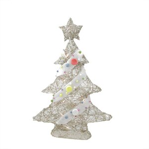Pre-Lit Champagne Gold Glittered Rattan Candy Covered Christmas Tree Table Top Decoration