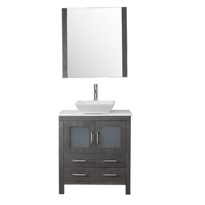 mirror size for 30 inch vanity. Cartagena 30  Single Bathroom Vanity Set with White Stone Top and Mirror Inch Vanities You ll Love Wayfair