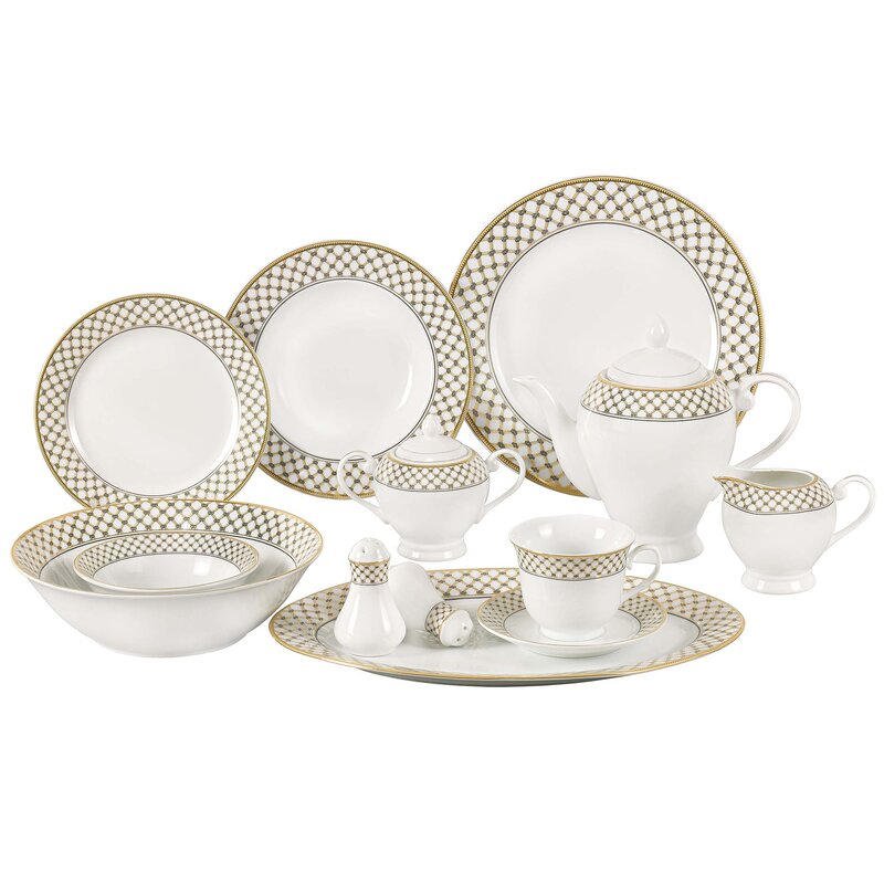 Anabelle 57 Piece Porcelain Dinnerware Set Service for 8  sc 1 st  Wayfair & Lorren Home Trends Anabelle 57 Piece Porcelain Dinnerware Set ...