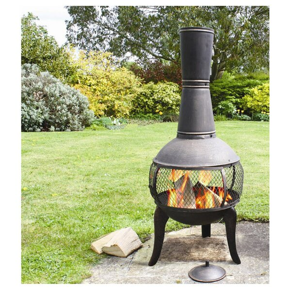 Clay Chiminea Fire Pit: Deeco Tuscan Glo Steel Wood Burning Chiminea & Reviews