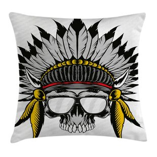 Skull Tribe Leader Feather Head Pillow Cover
