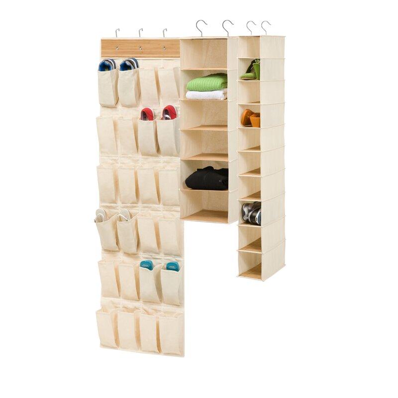 e335460d96da3 Household Essentials 10 Pocket Hanging Shoe Storage Organizer and 3 Shelf  Sweater Organizer Natural Canvas Pot Racks