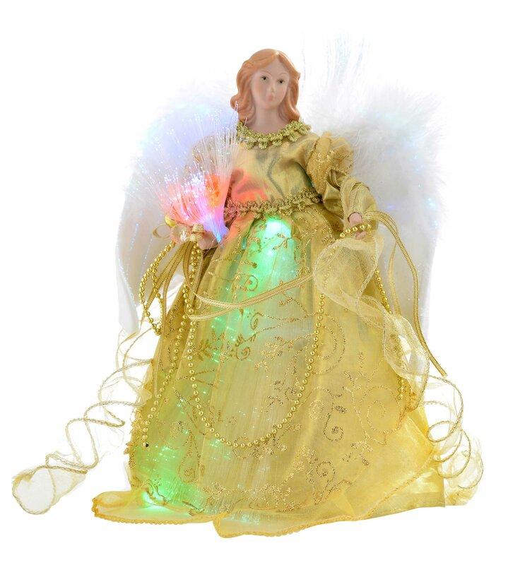Die saisontruhe christbaumspitze engel mit federfl gel und glasfaserbeleuchtung bewertungen - Christbaumspitze beleuchtet ...