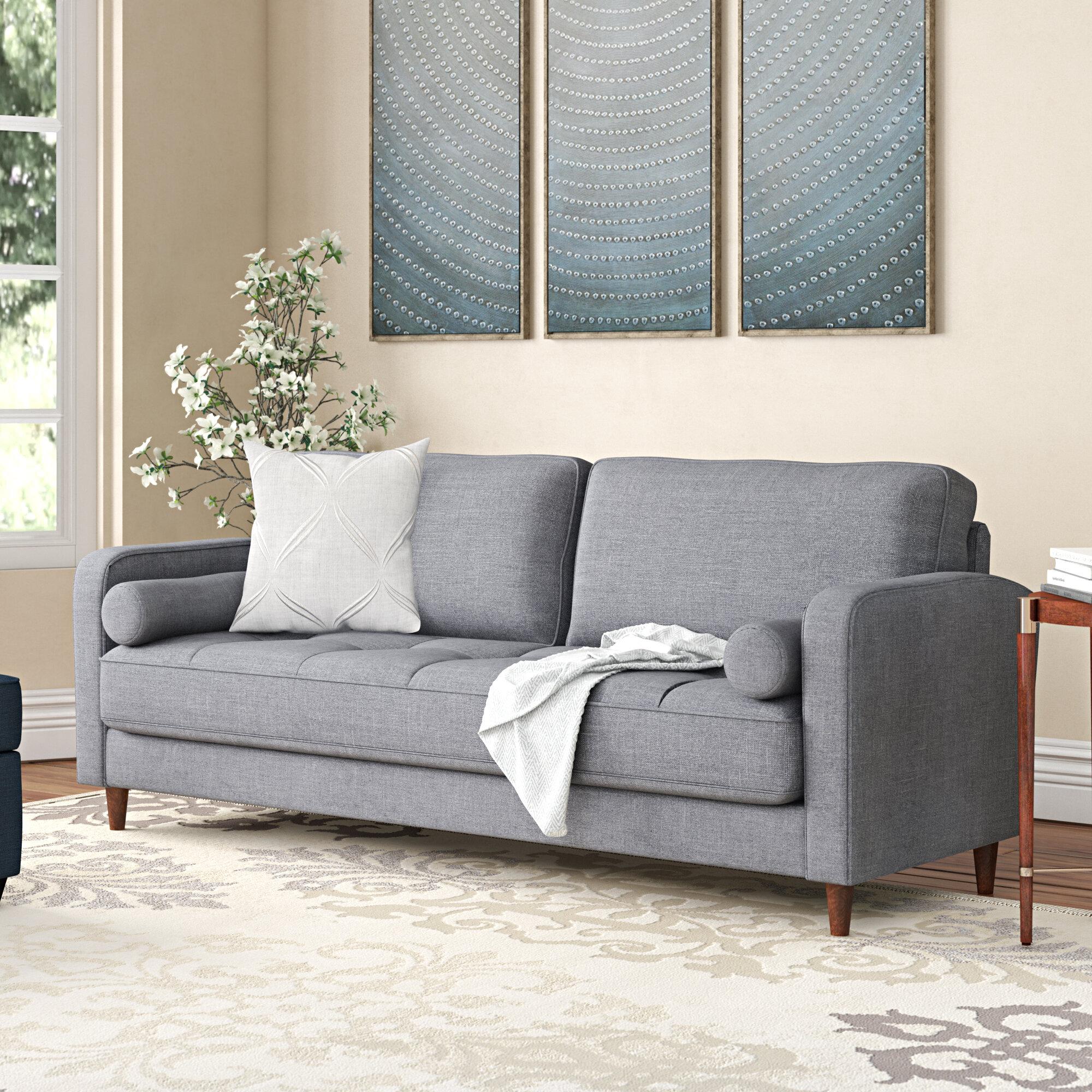 Mid-Century Modern Linen Fabric Living Room Sofa