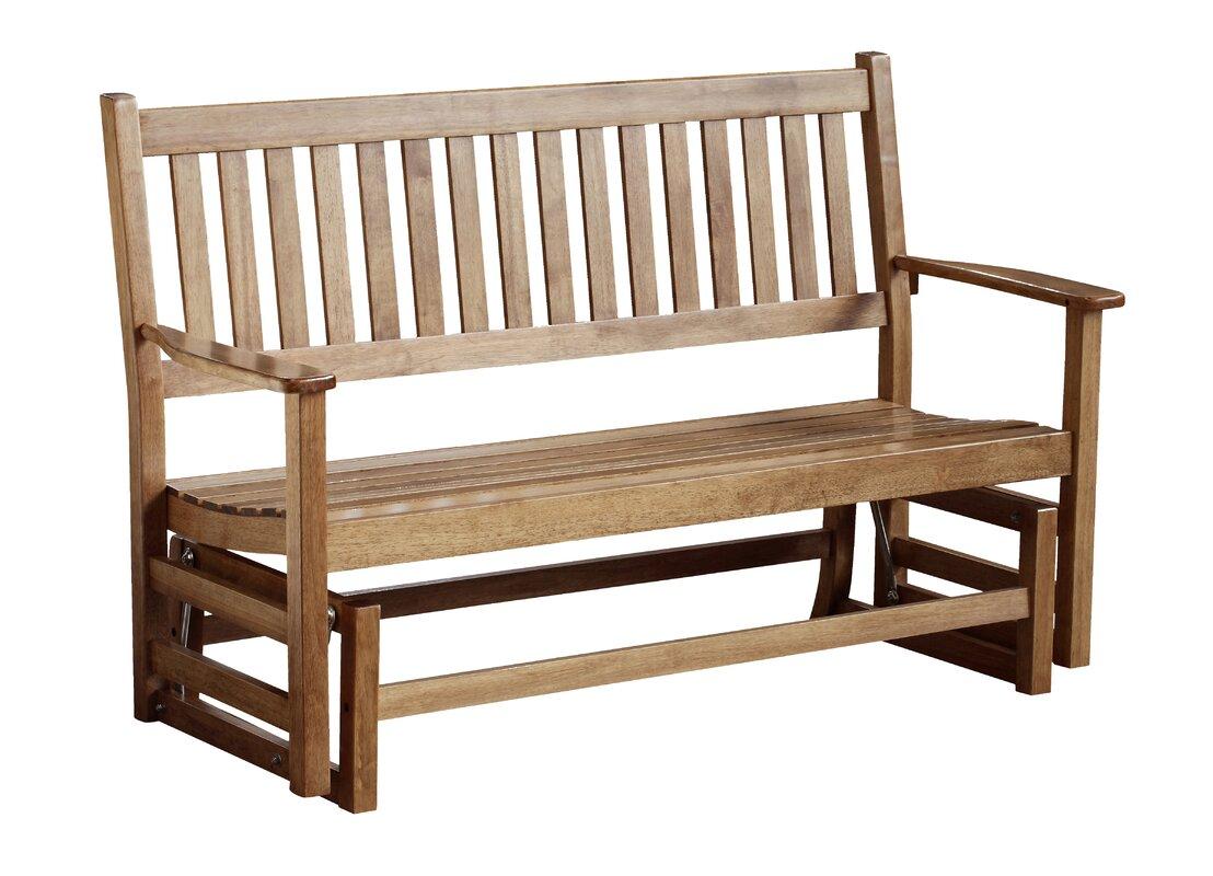 August Grove Franklin Springs Hardwood Porch Glider Bench