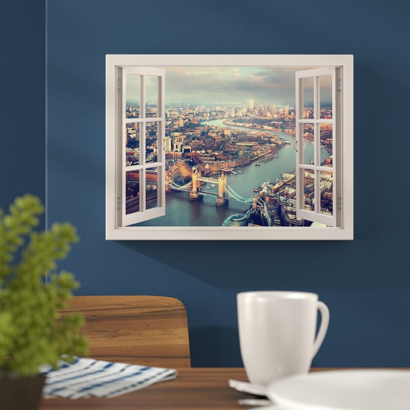 London Tower Bridge Aerial View 3D Window Effect Photographic Print On Wrapped Canvas