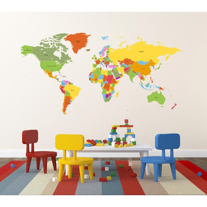 Pop Decors Educational World Map For Kids Room Wall Decal - World map for kids room