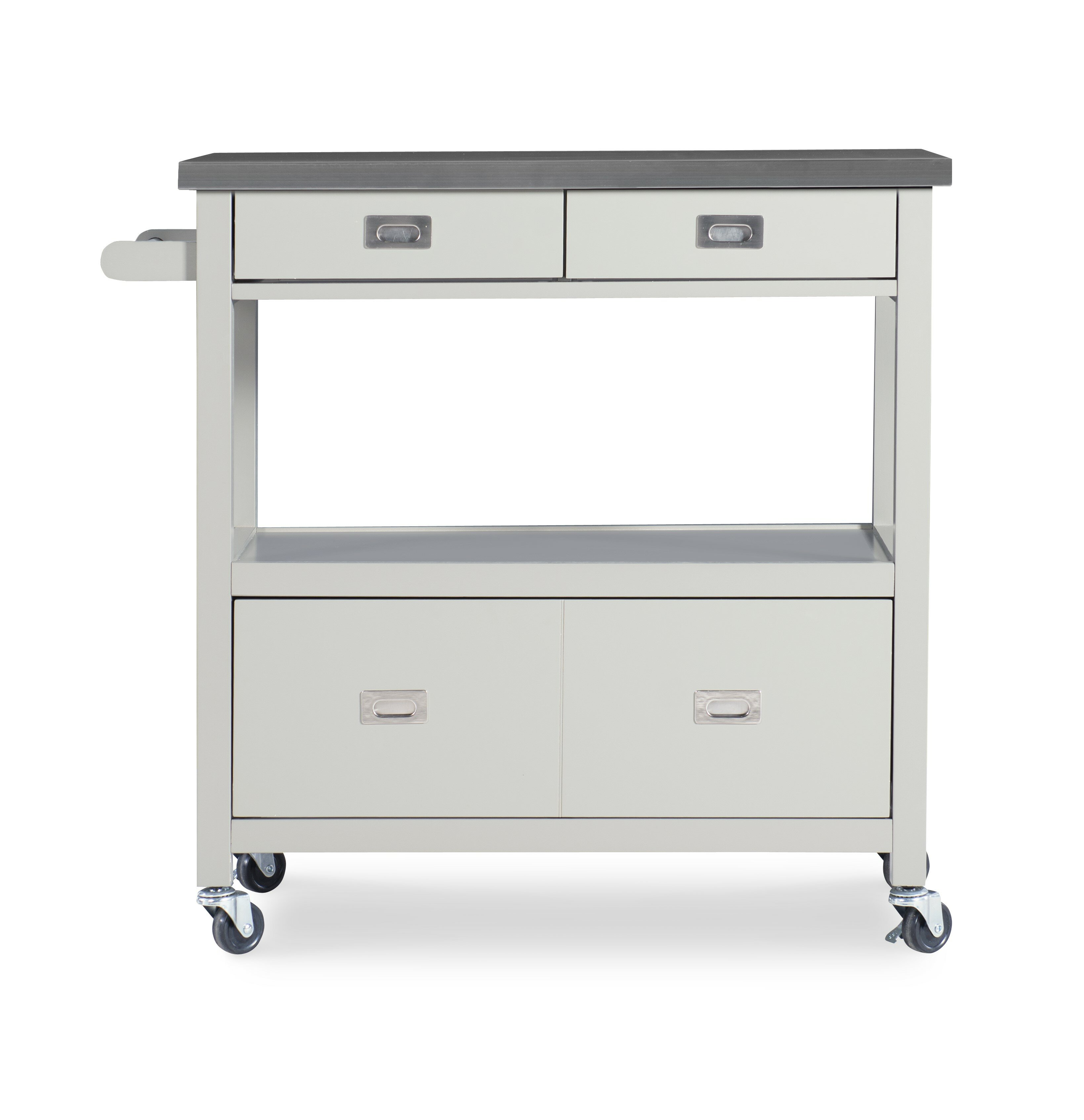 Willa Arlo Interiors Eira Kitchen Island with Stainless Steel Top