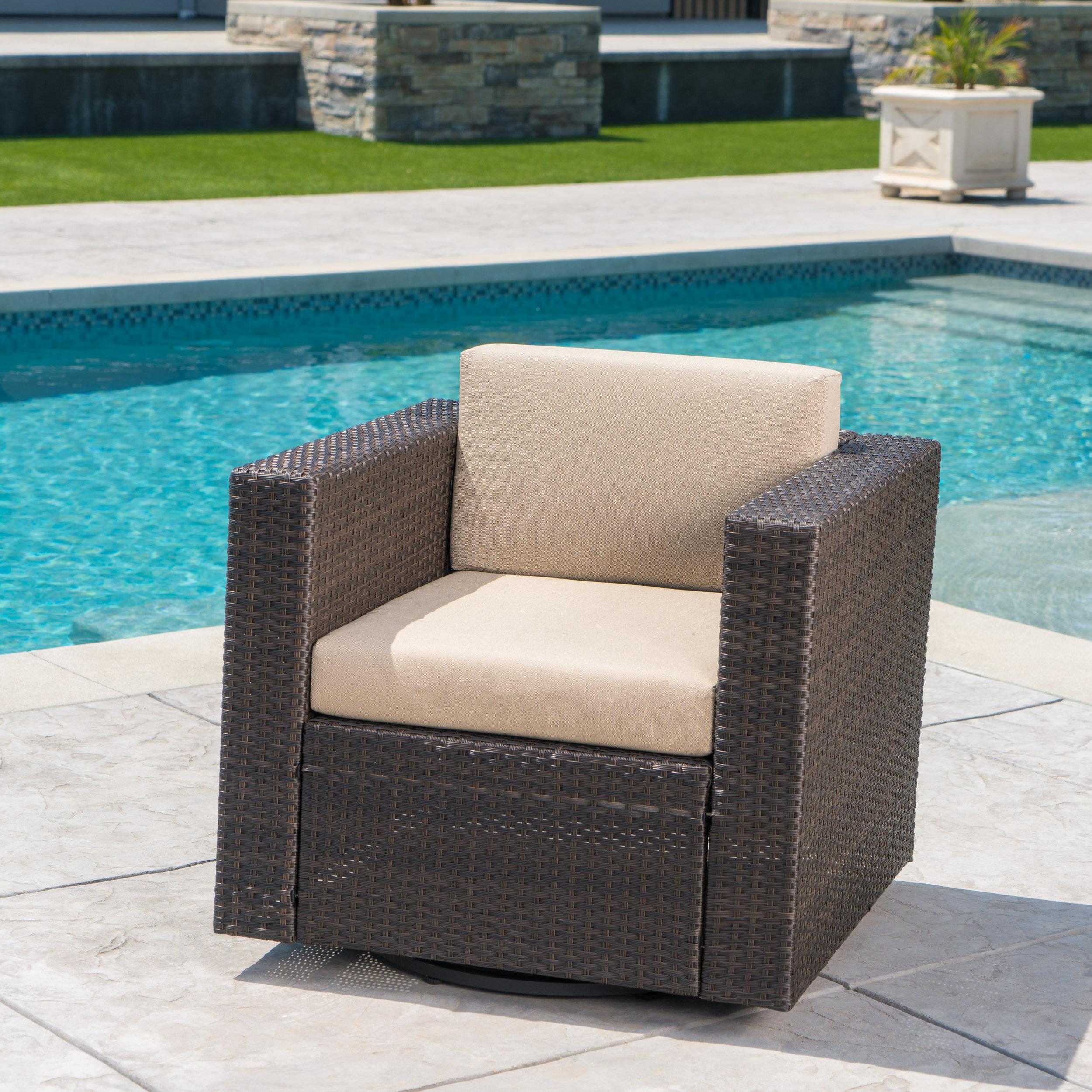 Incroyable Ivy Bronx Jemaine Outdoor Swivel Club Chair With Cushions | Wayfair