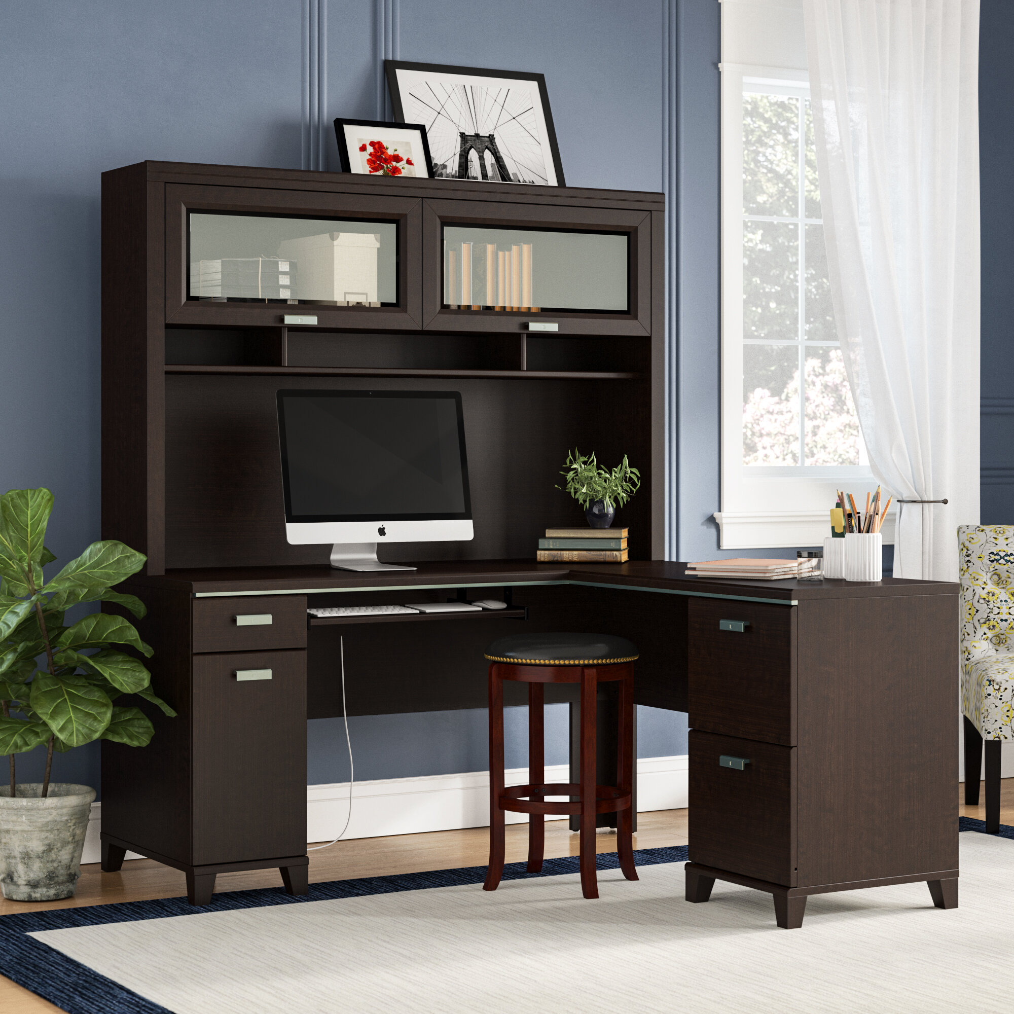 Cosner L-shaped Computer Desk with Hutch