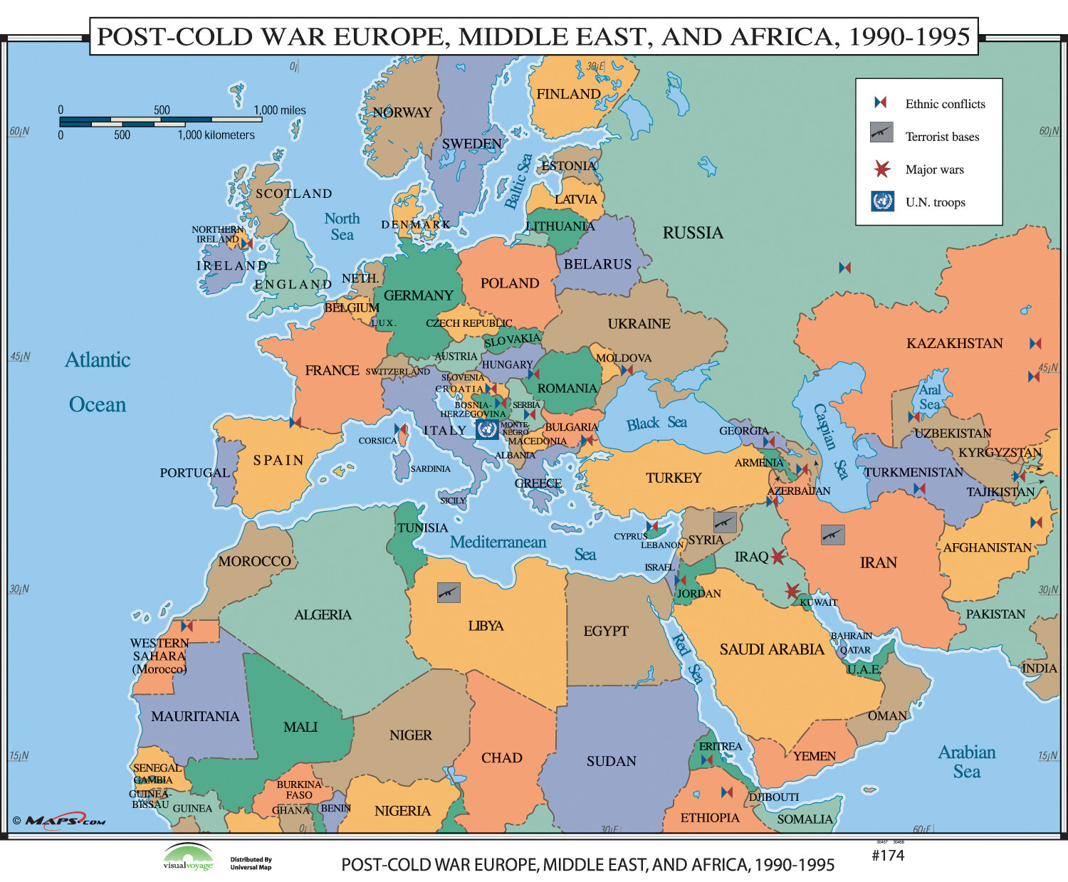 World History Wall Maps - Post Cold War Europe, Middle East & Africa