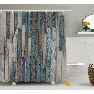 Livingston Blue Grey Planks Grunge Shower Curtain By Union Rustic