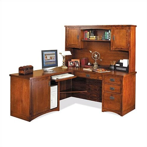 High Quality Mission Pasadena L Shape Computer Desk With Hutch