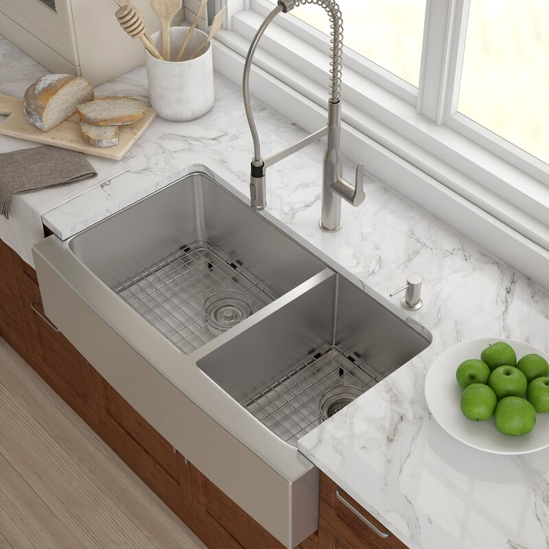 "Bathroom Sinks Double Basin kraus stainless steel 35.88""x 20.75"" double basin farmhouse"