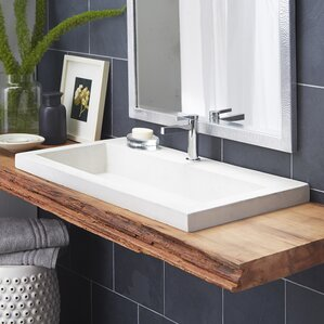 Lovely Trough Stone Rectangular Drop In Bathroom Sink