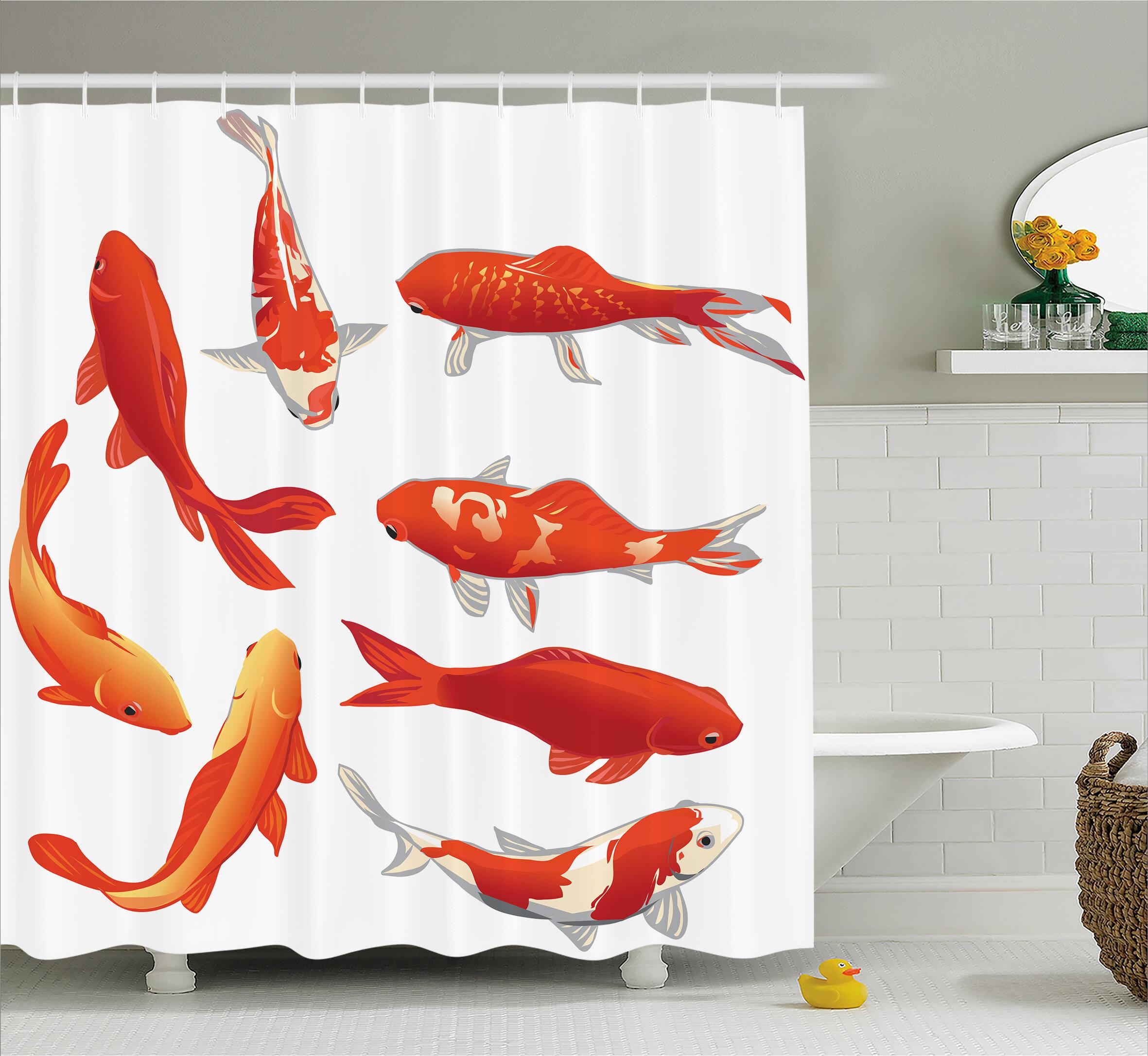 East Urban Home Koi Fish Decor Shower Curtain