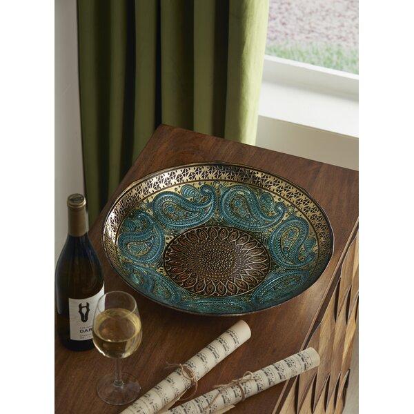 World Menagerie Paisley Round Glass Decorative Bowl