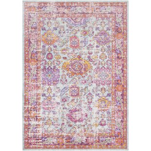 Kahina Vintage Distressed Oriental Rectangle Neutral Pink Area Rug