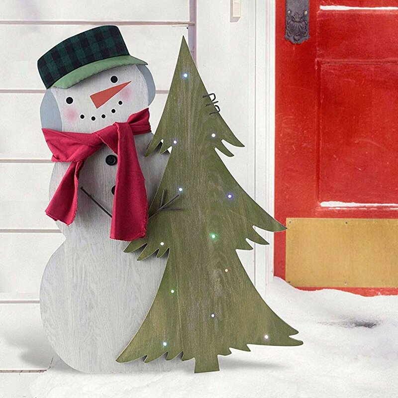 lightup indooroutdoor standing snowman decor with hat and scarf