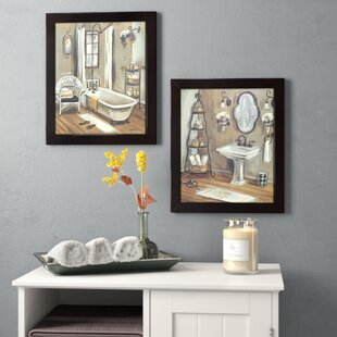 'Bathroom' 2 Piece Framed Painting Print Set on Canvas